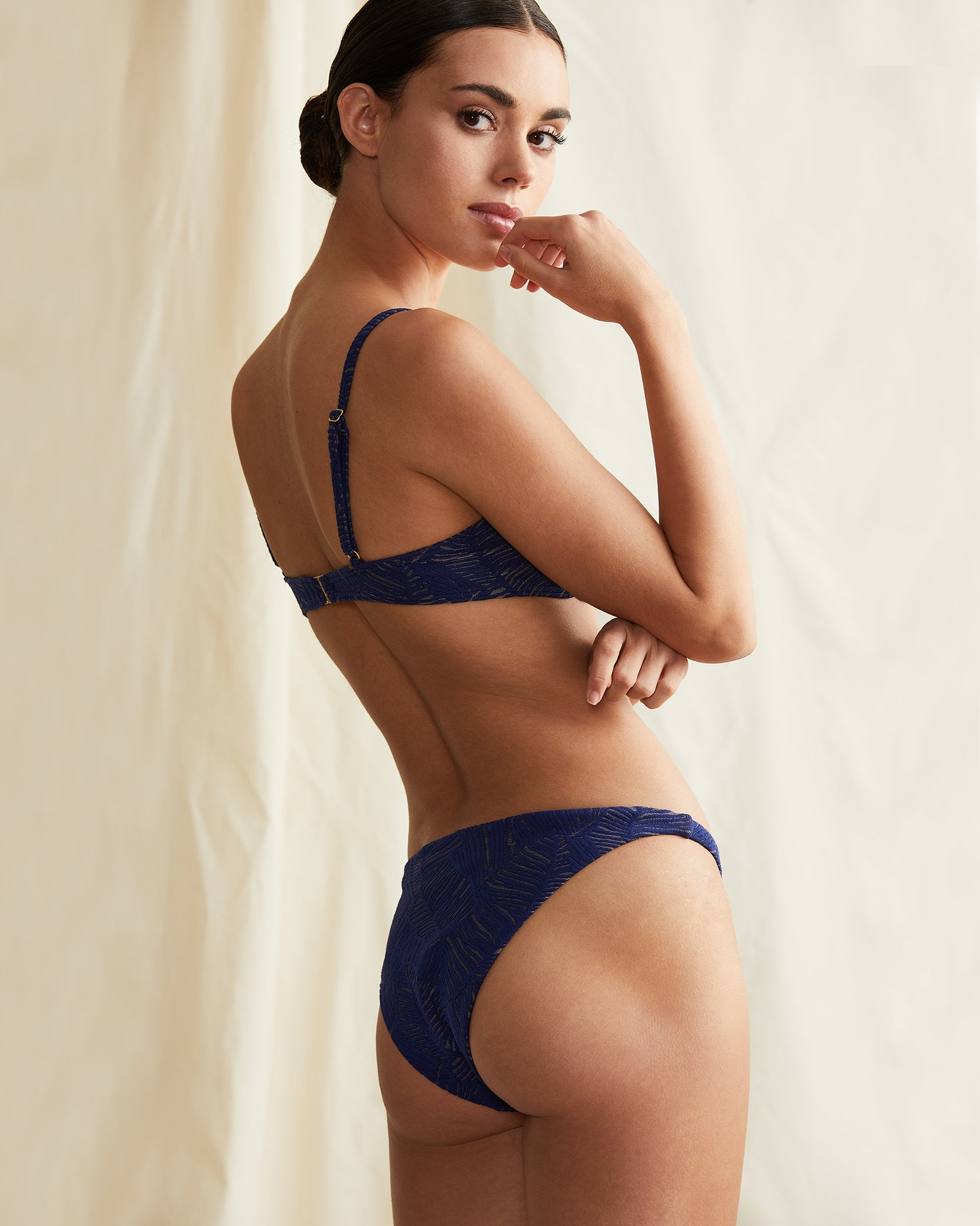 Ashley Palm Jacquard Bikini Bottom in Navy - 2 - Onia