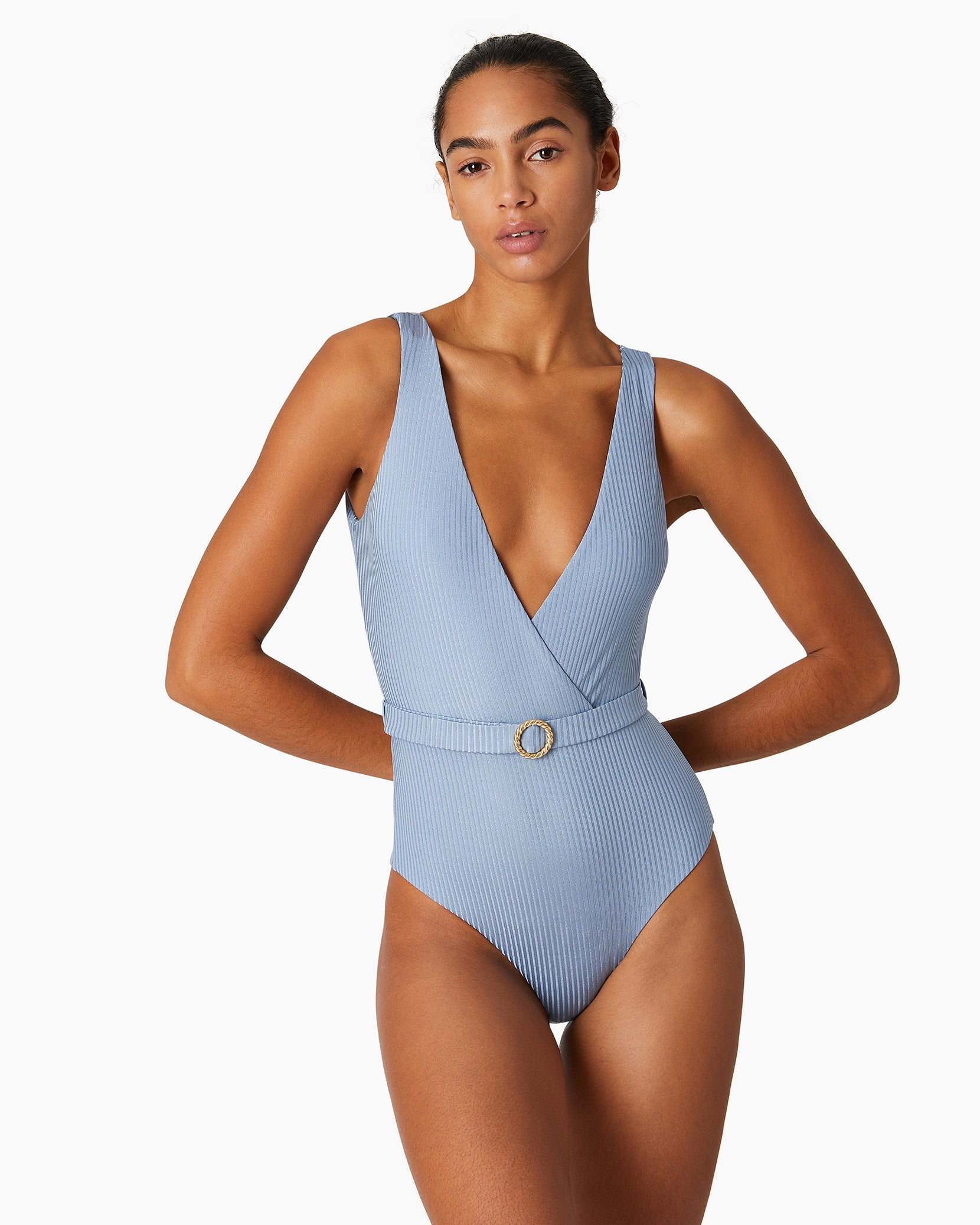 Shimmer Rib Michelle One Piece in Captain Blue - 2 - Onia