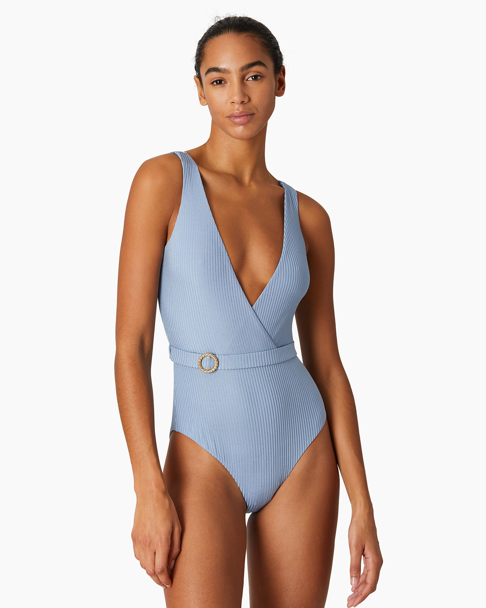 Shimmer Rib Michelle One Piece in Captain Blue - 4 - Onia