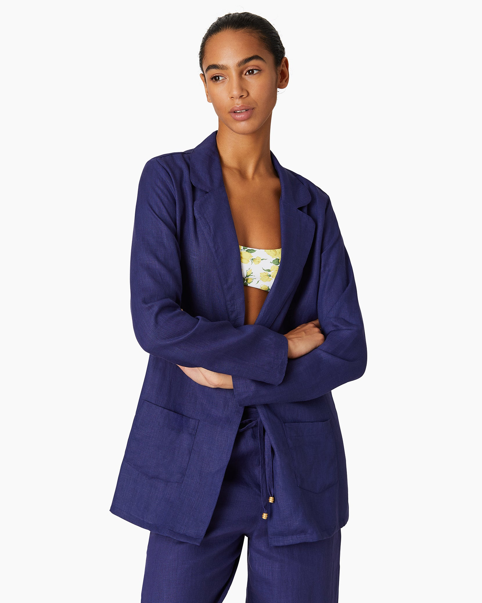 Linen Beach Blazer in Navy - 1 - Onia