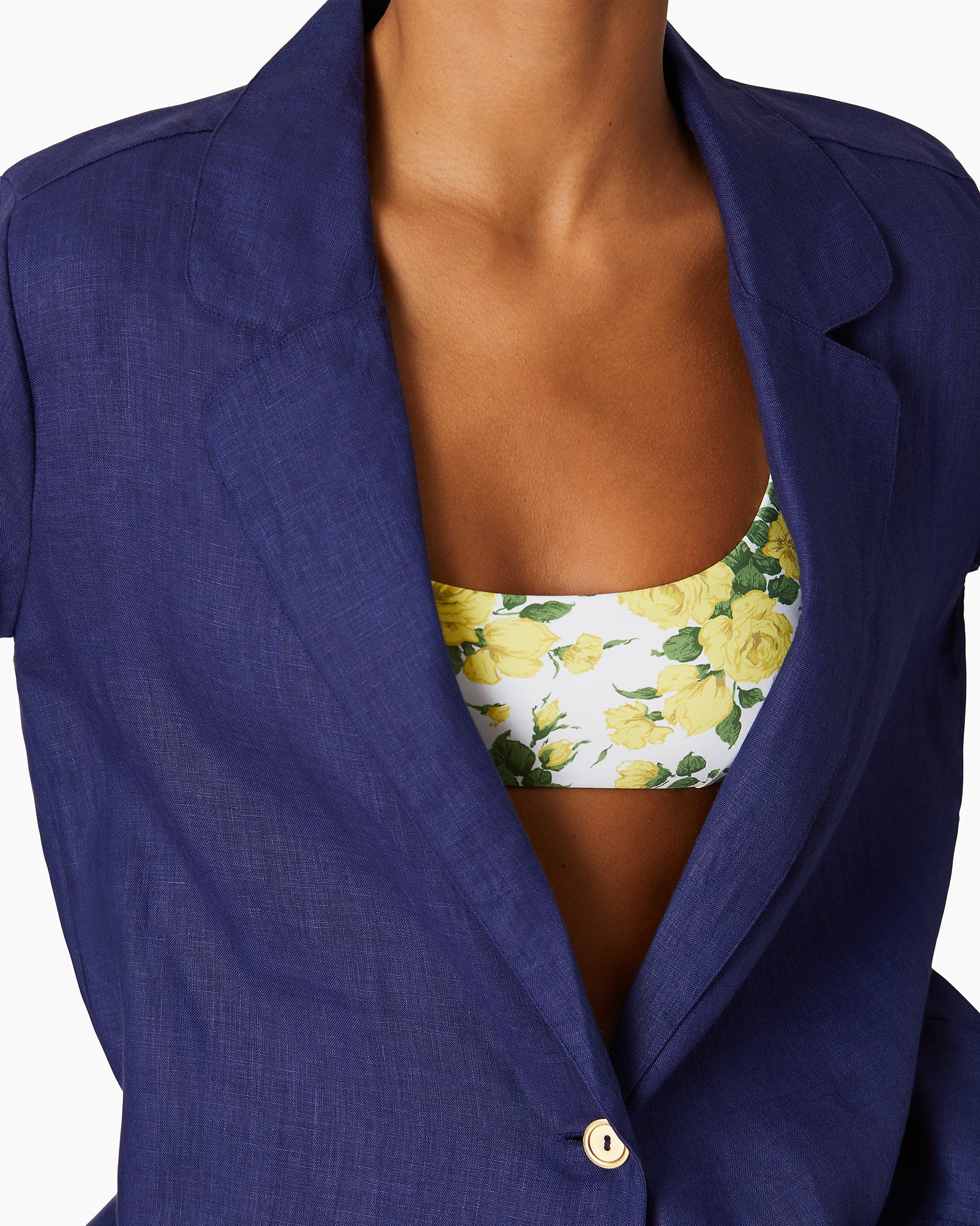 Linen Beach Blazer in Navy - 2 - Onia