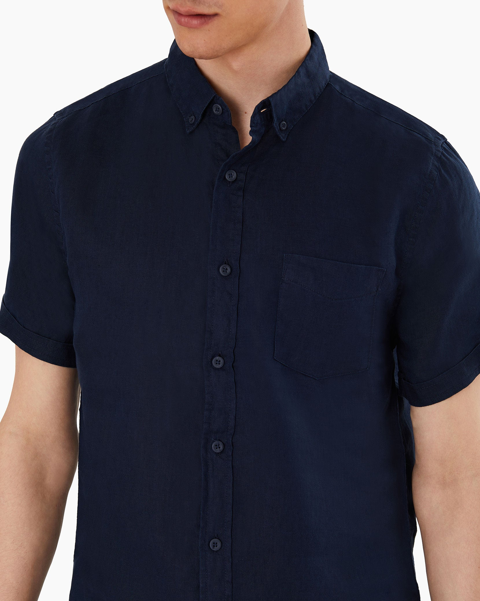 Stretch Linen Short Sleeve Shirt in Deep Navy - 9 - Onia