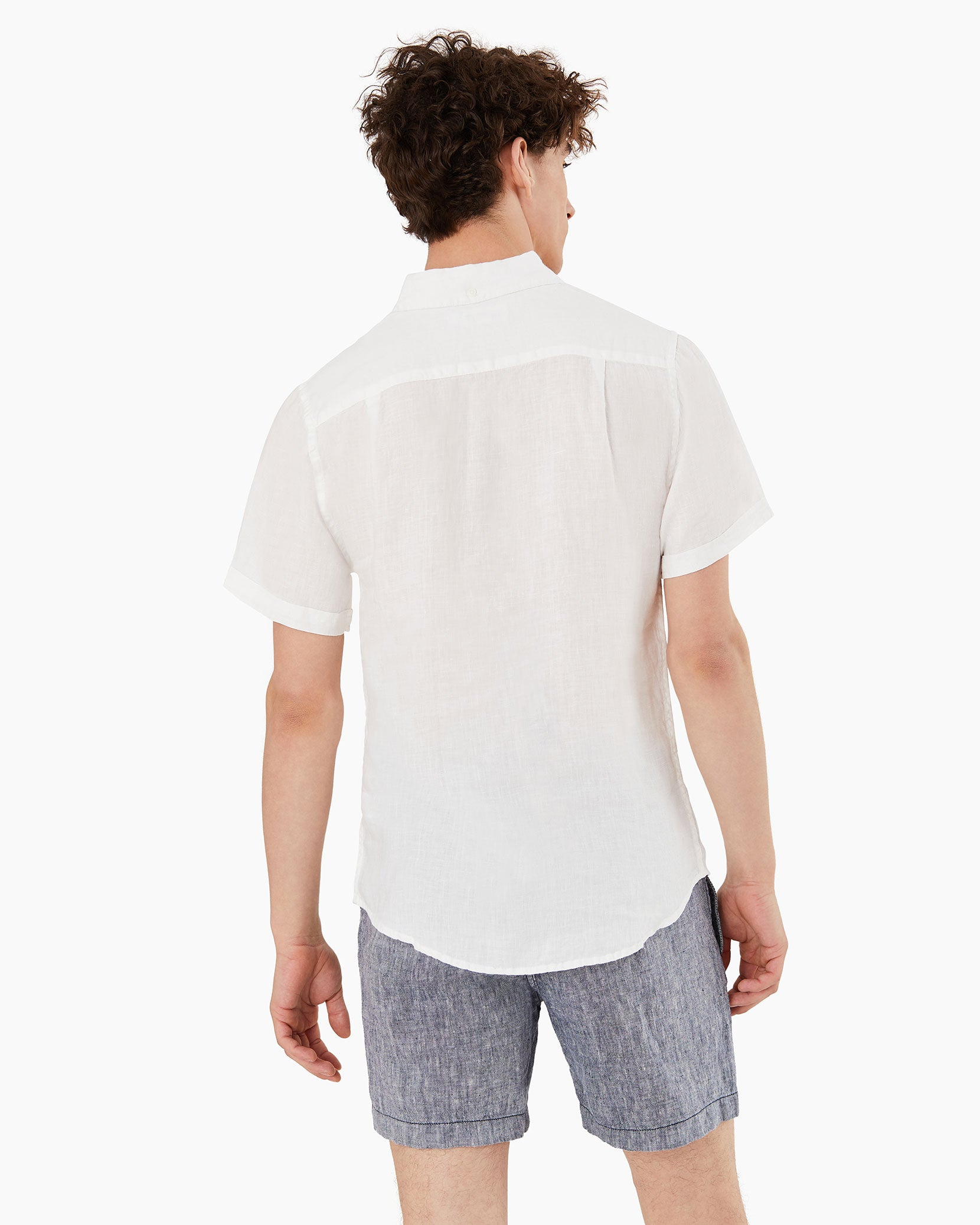 Stretch Linen Short Sleeve Shirt in White - 3 - Onia