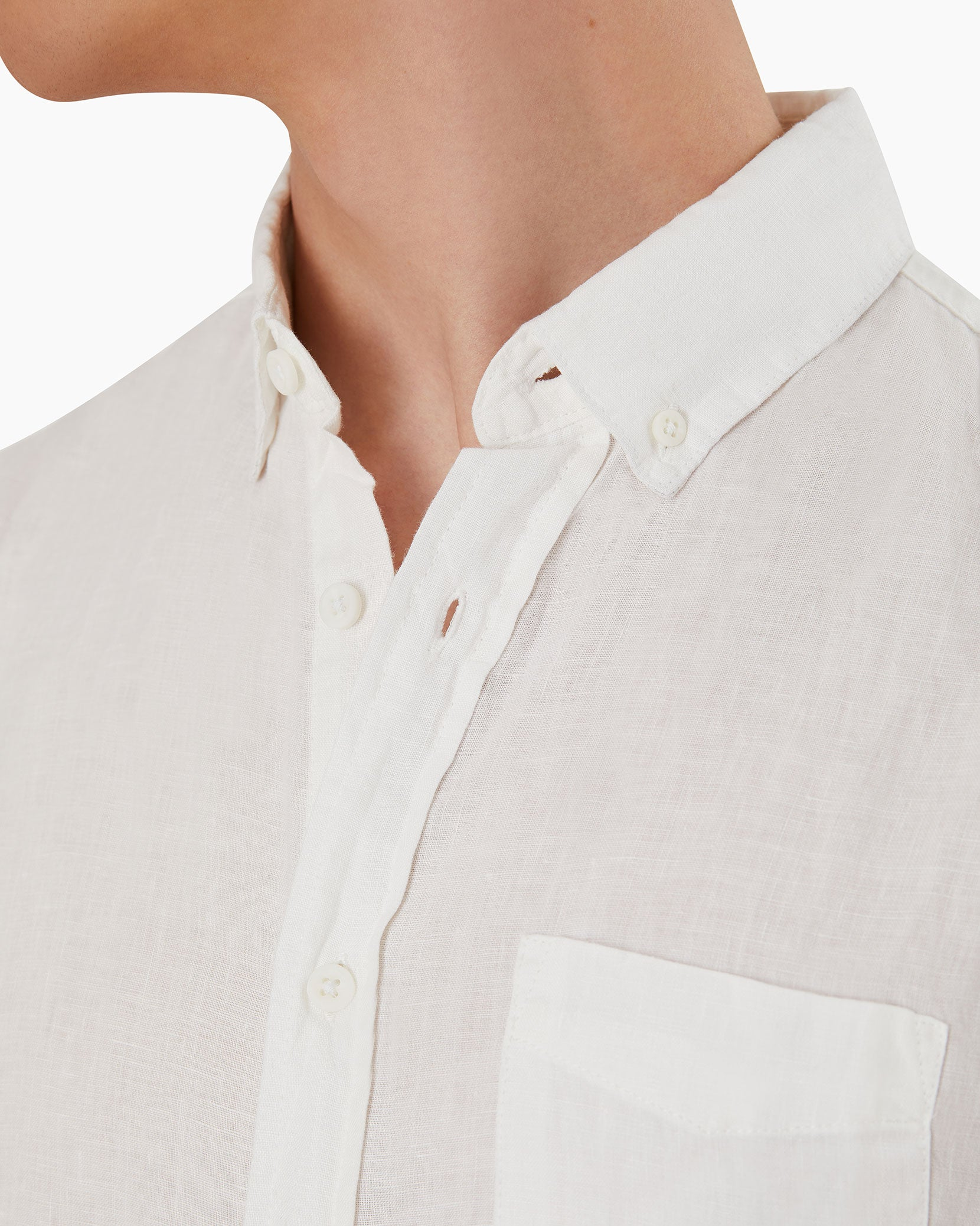 Stretch Linen Short Sleeve Shirt in White - 4 - Onia