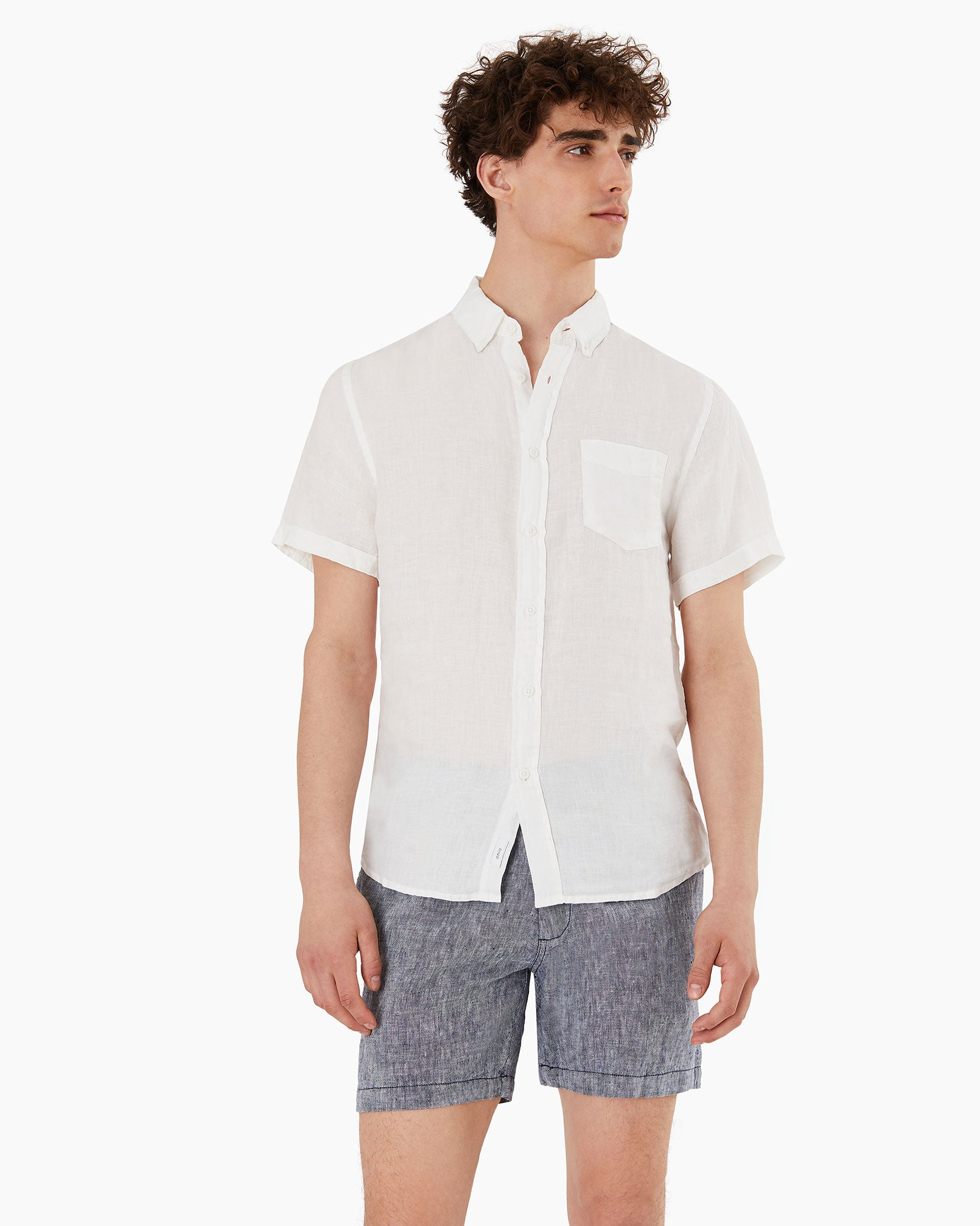 Stretch Linen Short Sleeve Shirt in White - 2 - Onia