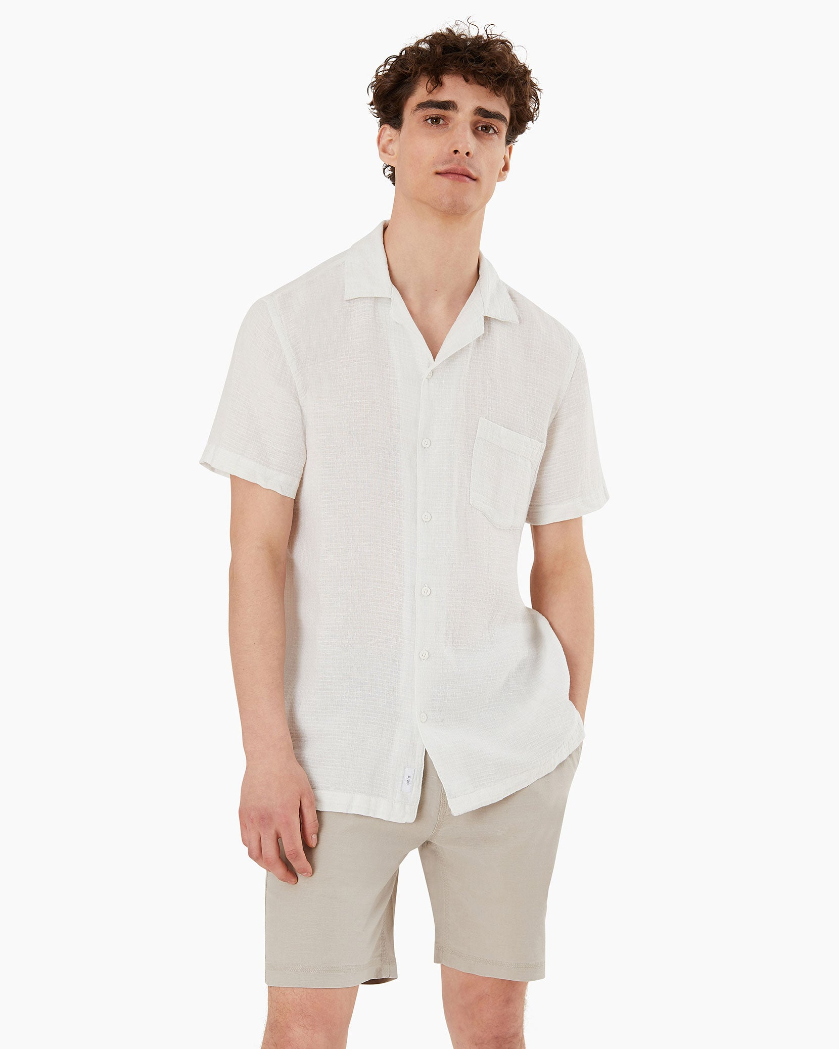 Vacation Checked Dobby Shirt in White - 3 - Onia
