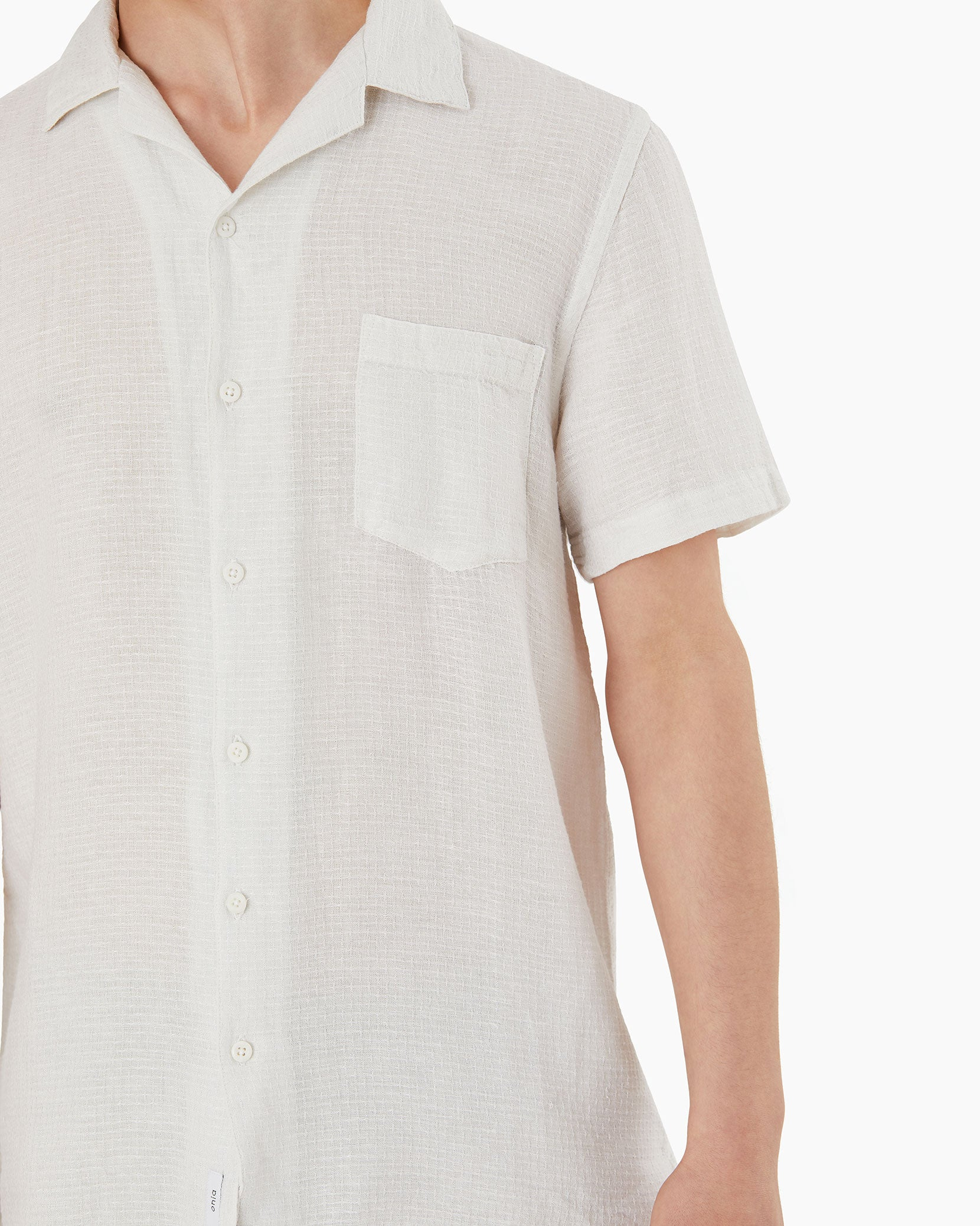 Vacation Checked Dobby Shirt in White - 2 - Onia