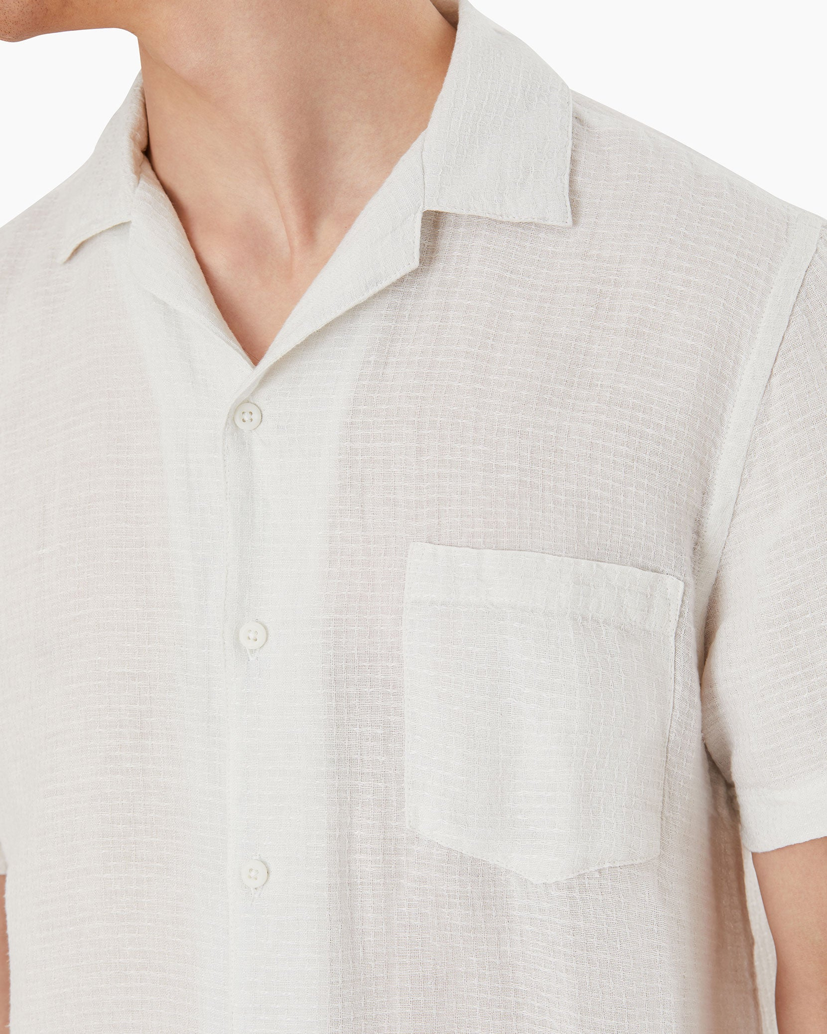 Vacation Checked Dobby Shirt in White - 5 - Onia