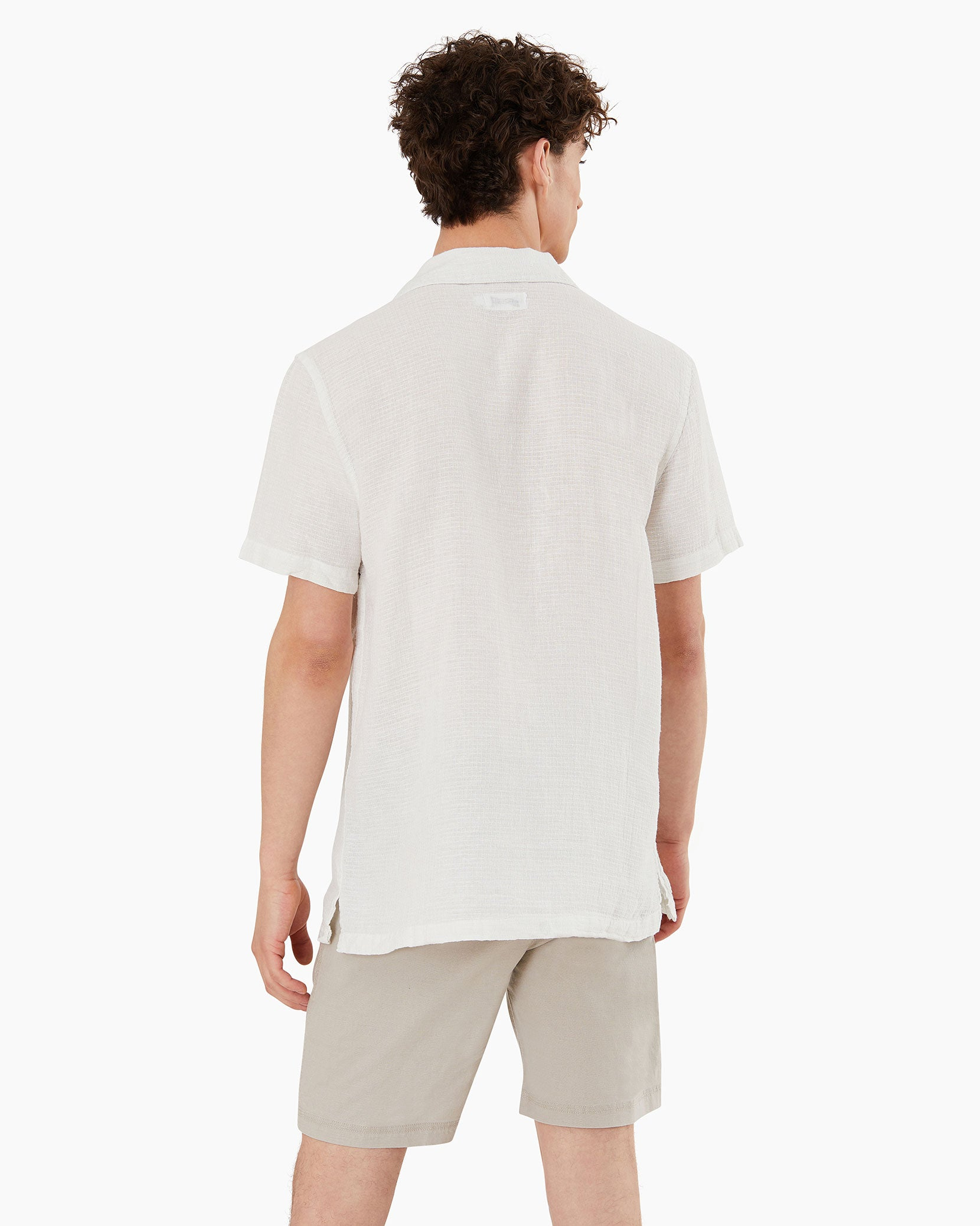Vacation Checked Dobby Shirt in White - 4 - Onia