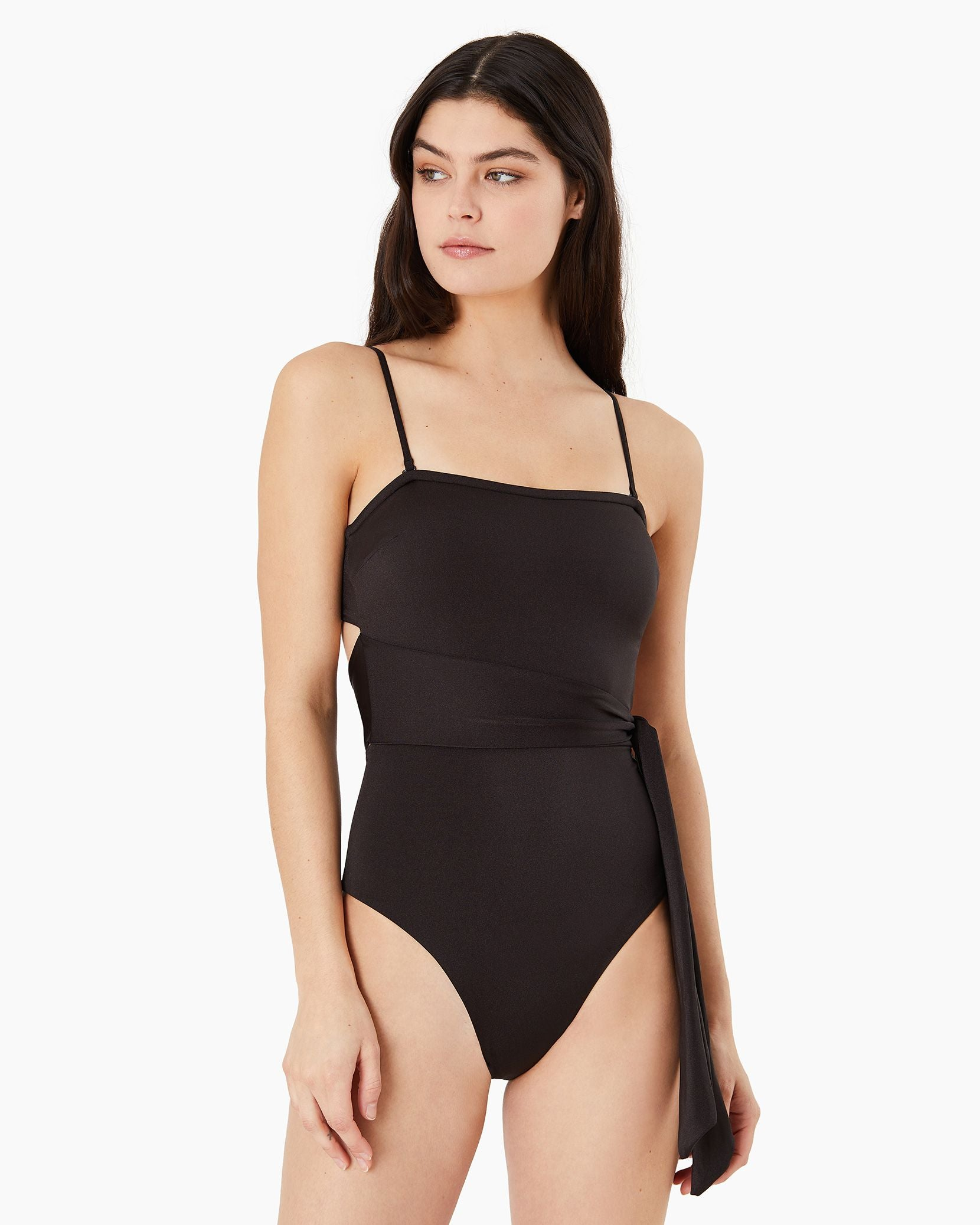 Charlotte One Piece in Metallic Solid Black - 1 - Onia