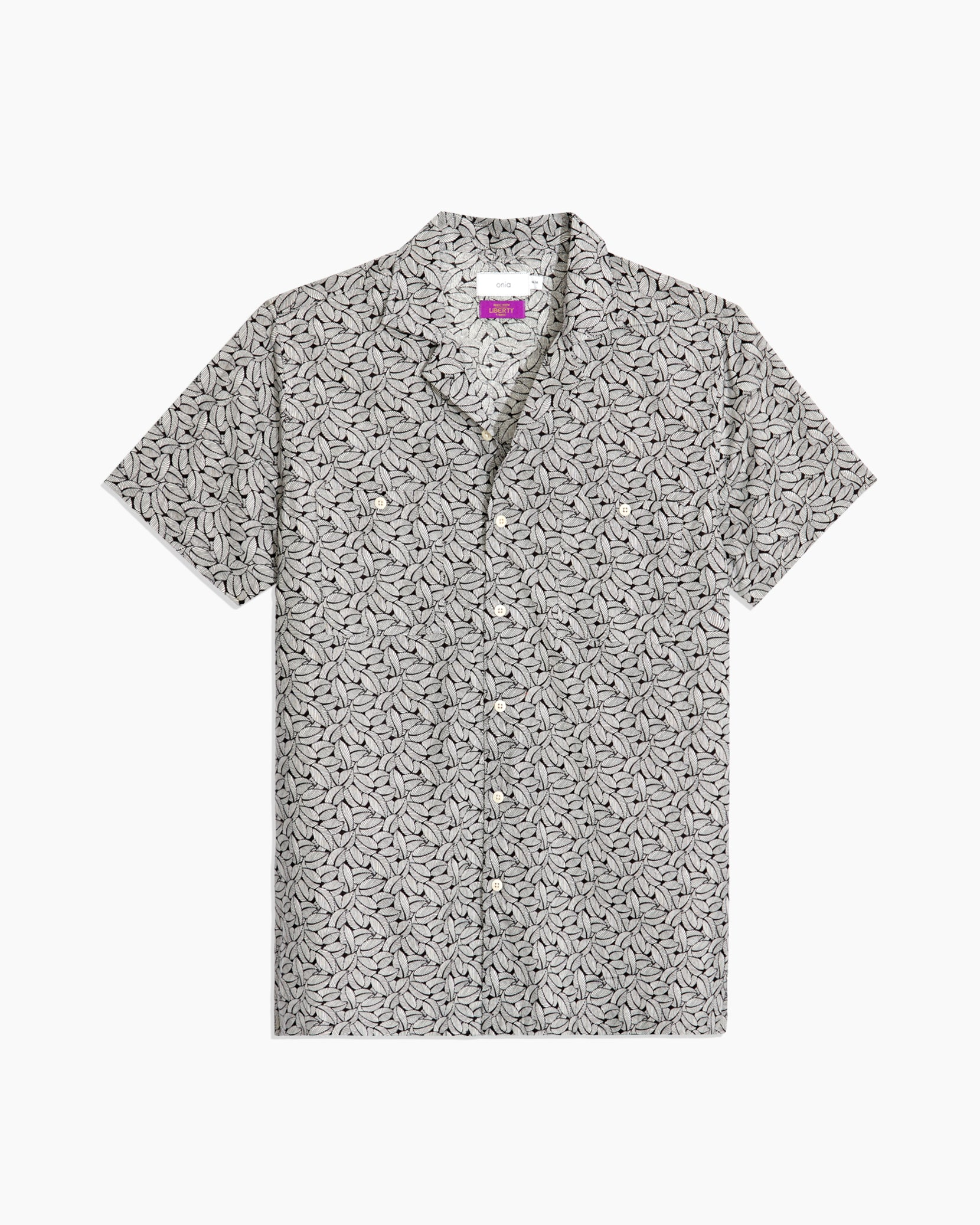 Linen Liberty Leaves Camp Shirt in Black - 1 - Onia