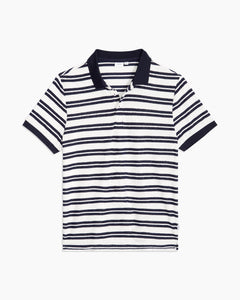 Zach Stripe Towel Terry Polo in Deep Navy - 1 - Onia