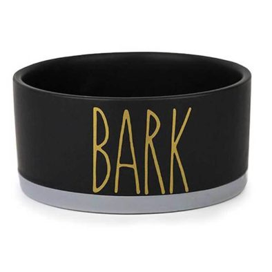 Barkley and Bella BARK Black Ceramic Dog Bowl with Bark and Bone in Gold