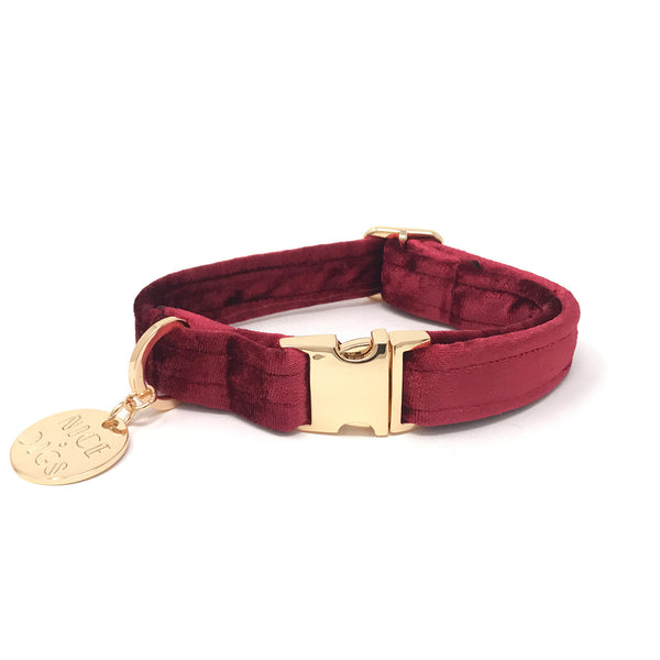VELVET DOG COLLAR – CRIMSON
