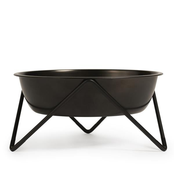 ELEVATED WOOF LUXE BLACK ON BLACK DOG BOWL WITH BLACK STAND - BENDO