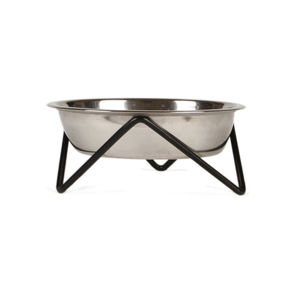 Elevated Woof Luxe Staineless Steel Dog Bowl With Black Stand - Bendo