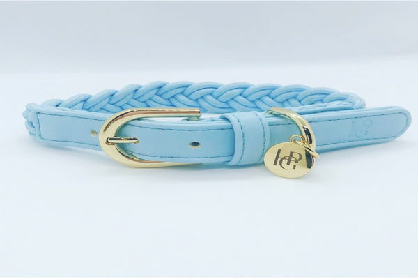 PLAITED DOG COLLAR - CLOUD BLUE