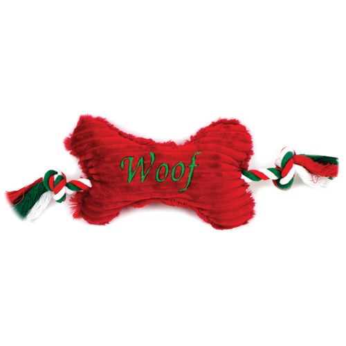 SNUGGLE FRIENDS XMAS 'WOOF' PLUSH BONE WITH CANDY CANE ROPE