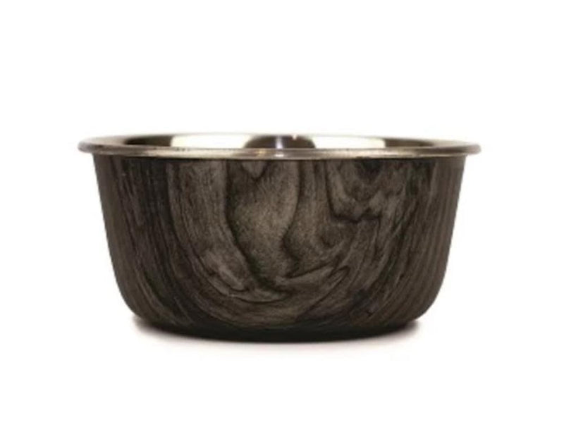 Barkley and Bella Stainless Steel Dog Bowl with a driftwood patterned exterior