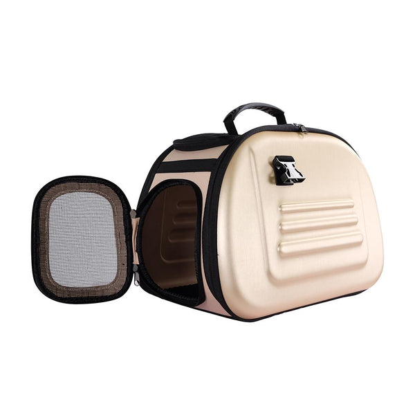 CLASSIC EVA TRANSPARENT PET TRANSPORTER, FOLDABLE PET CARRIER -  BEIGE