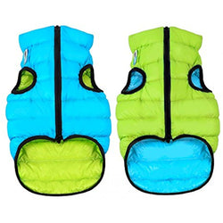 AIRY VEST DOG JACKET - LIME AND BLUE/CORAL AND GREY