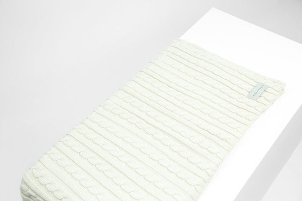 MAX BONE LUXURY CABLE KNIT BLANKET - IVORY