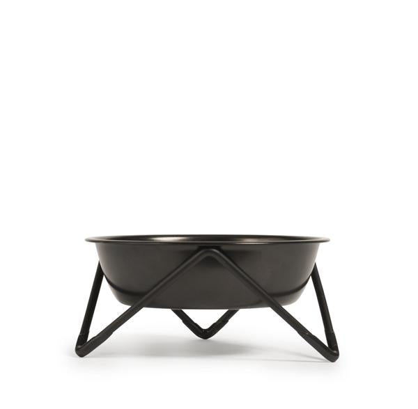 ELEVATED MEOW LUXE BLACK ON BLACK CAT BOWL WITH BLACK STAND - BENDO