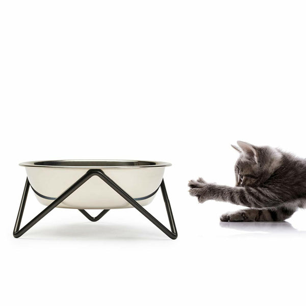 ELEVATED MEOW LUXE STAINLESS STEEL CAT BOWL WITH BLACK STAND - BENDO