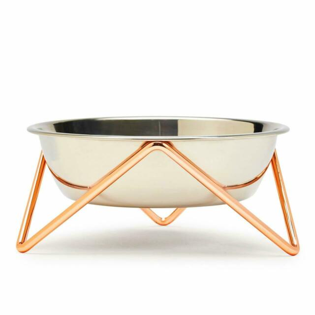 ELEVATED MEOW LUXE STAINLESS STEEL CAT BOWL WITH COPPER STAND - BENDO