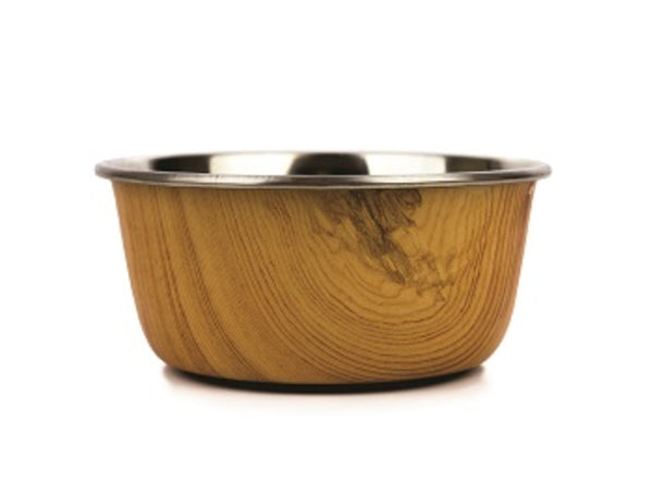 Barkley and Bella Stainless Steel Dog Bowl with a Natural Wood patterned exterior
