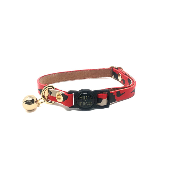 ANIMAL LEATHER CAT COLLAR - RED