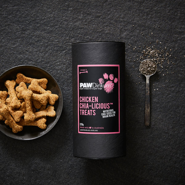PAWDinkum DOG TREATS - NATURAL DOG BISCUITS. CHICKEN CHIA-LICIOUS 220G