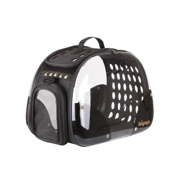 IBIYAYA HARD ROCK HARD CASE TRANSPARENT PET TRANSPORTER, FOLDABLE PET CARRIER
