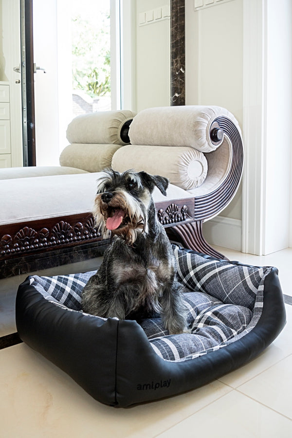 Amiplay Kent Black Dog Bed. Made from ecological leather