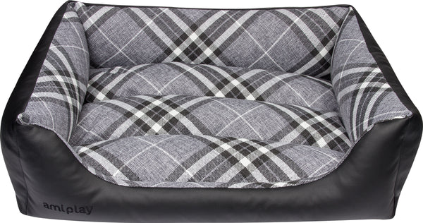 Amiplay Kent Black Dog Bed. Made from ecological leather.