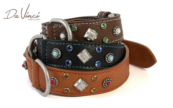MADDALENA  LEATHER DOG COLLAR - BROWN