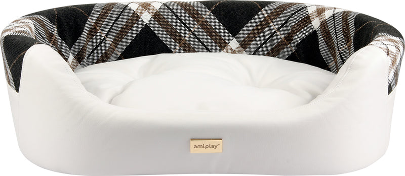 The Kent Dog Bed White made from Ecological Leather.
