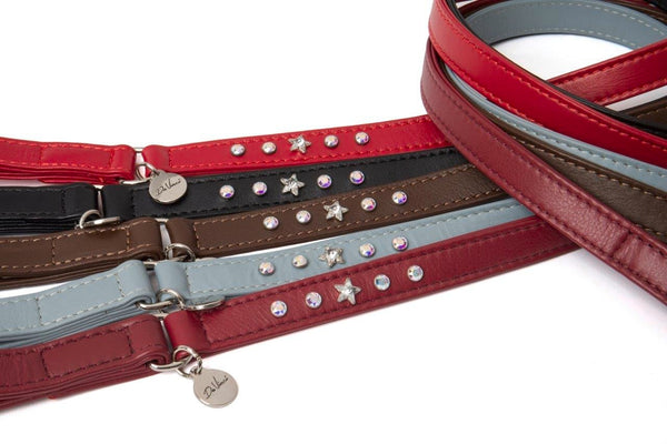 DA VINCI LEATHER LEASH THE CATERINA - BLACK, GREY AND BORDEAUX