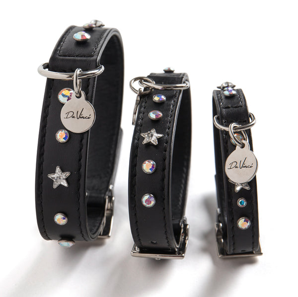 DA VINCI LEATHER COLLAR THE CATERINA - BLACK, GREY AND BORDEAUX