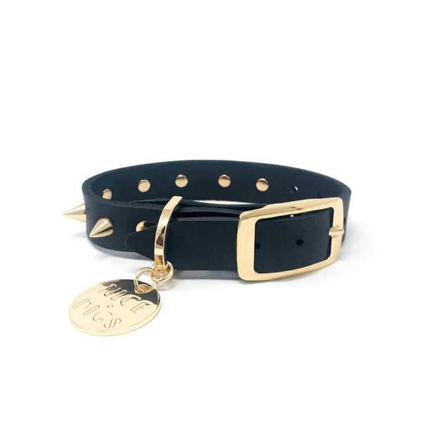 SPIKE LEATHER DOG COLLAR - GOLD NOIR