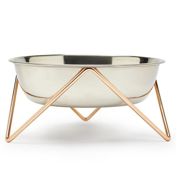ELEVATED WOOF LUXE STAINLESS STEEL DOG BOWL WITH COPPER STAND - BENDO