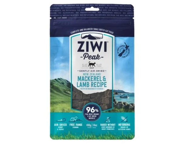 ZIWIPEAK CAT AIR DRIED FOOD MACKEREL AND LAMB 400GM