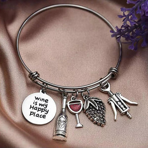 Wine Is My Happy Place Charm Bracelet