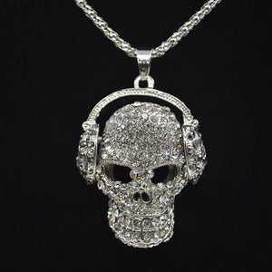 DJ Bling Skull Necklace