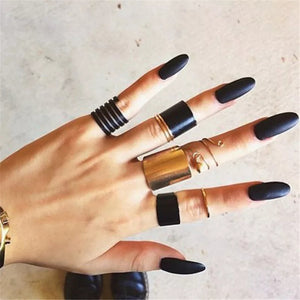 Black Stack Midi Ring Set