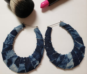Distressed Denim Bamboo Earrings
