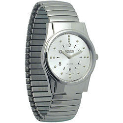 Watch, Mens Braille Watch, Silver Face, Silver Band