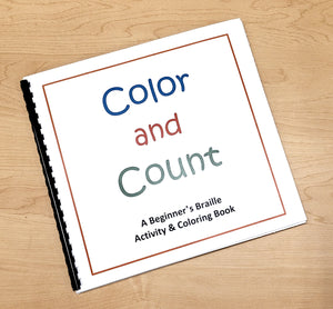 Color and Count bound braille coloring book.