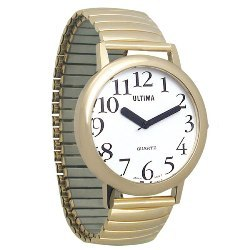 Watch Ultima Unisex Low Vision, white face, gold