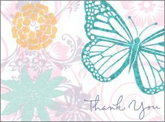 Card has white background with pastel flowers and a teal butterfly. Text reads